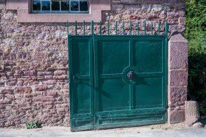 portail acier vert